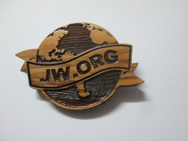 Jerusalem OLIVE WOOD.. JW.ORG Jehovah's Witness/ Button/ Pin/ Brooch/ watchtower