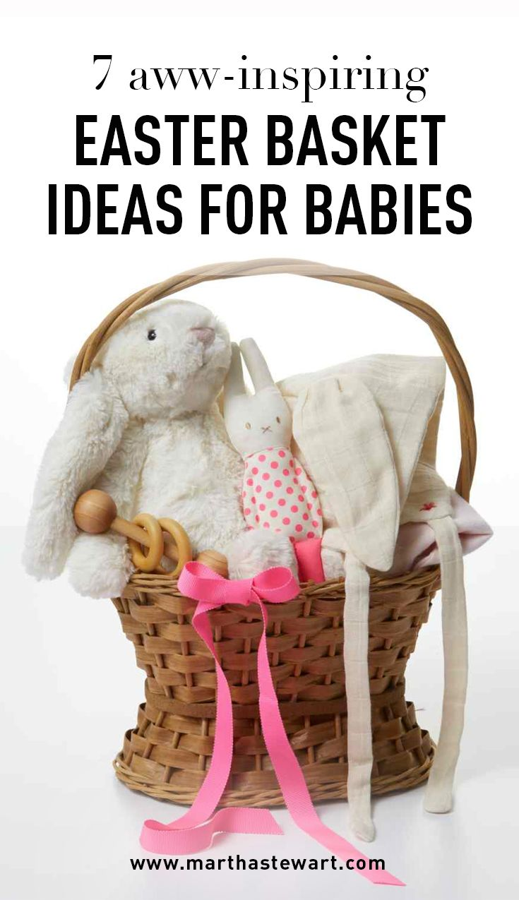 7 Aww-Inspiring Easter Basket Ideas for Babies | Martha Stewart Living - Is it the first Easter for somebunny special? Most traditions -– dyeing eggs, eating candies, and joining in on Easter egg hunts -- are out of reach for babies, which makes a thoughtfully curated basket all the more meaningful.