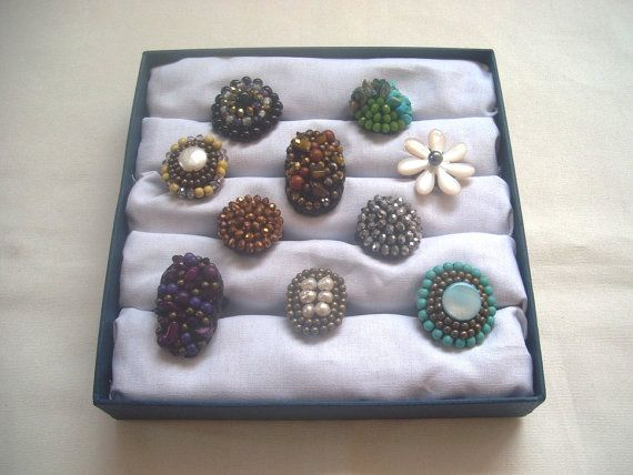 WHOLESALE BOX of 10 Beaded  crochet RING. by ExtravaganzaBali