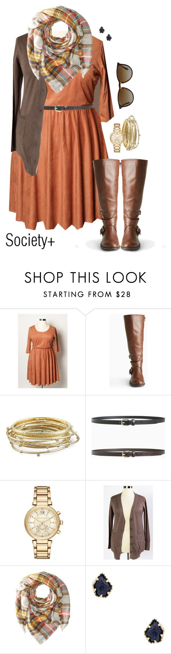 """""""Plus Size Rust Faux Suede Skater Dress - Society+"""" by iamsocietyplus on Polyvore featuring Kendra Scott, Michael Kors, Hat Attack, Ray-Ban, plussize, societyplus and iamsocietyplus"""