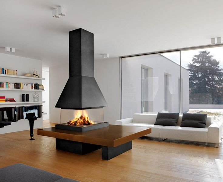 OLDEN SURROUND: Model with very large majolica elements for the bench that can be made in your favourite colour chosen from among those in the Piazzetta palette. Frame, support, trim and hood in steel with black or white enamel finish. Fireplace fitted with an exclusive electrically-operated rise and fall system for the all-round glass screen. (the photo shows the Tabacco majolica version, wood-burning firebox M360 Q).
