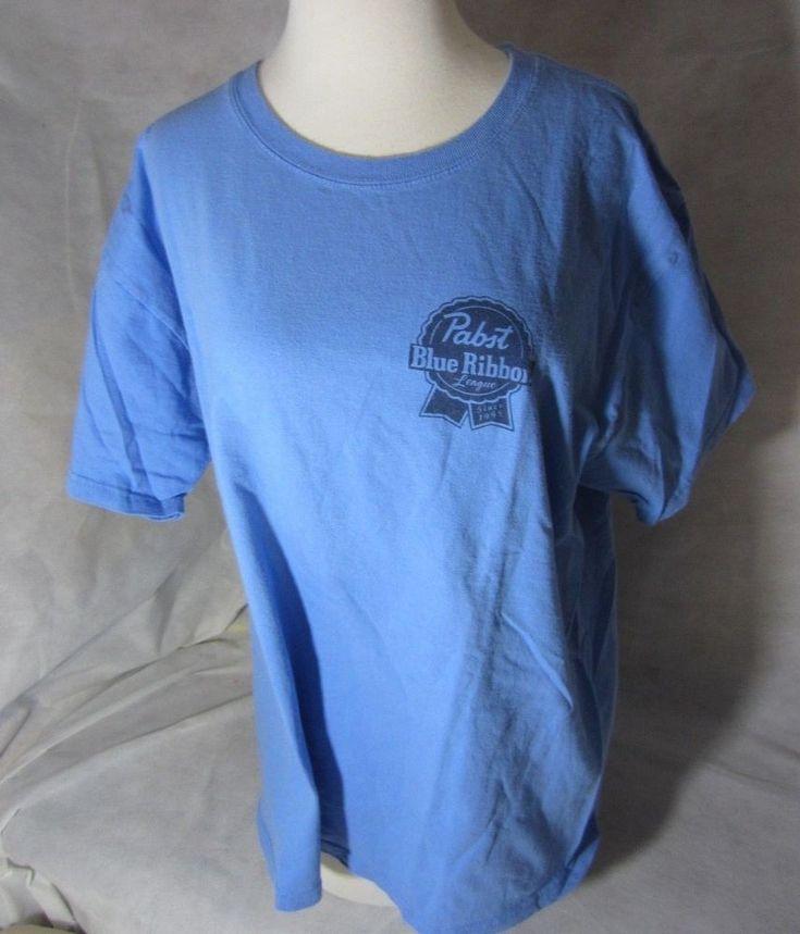 Pabst Blue Ribbon League Beer T-shirt Fits Size Larger Men Fantasy Football Tee   | eBay