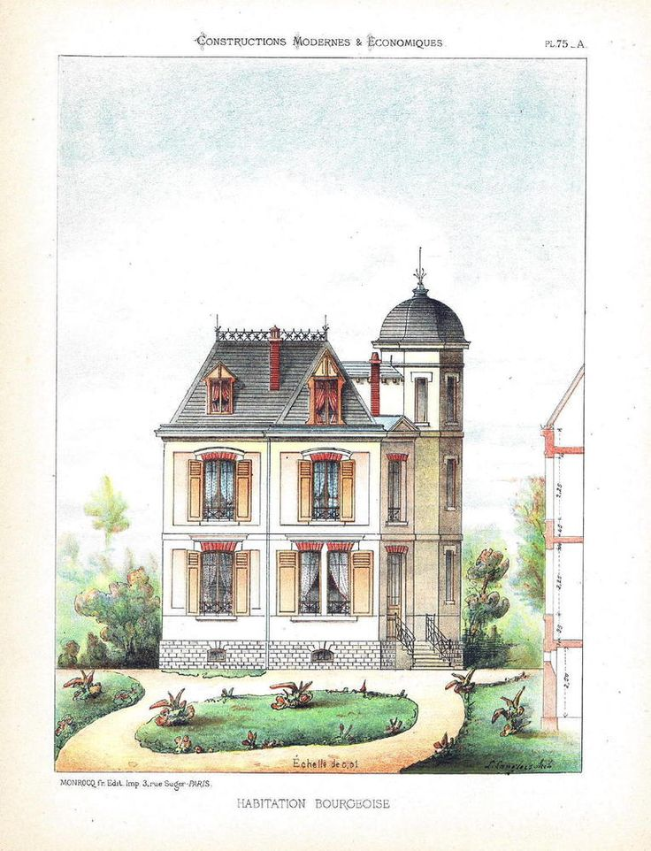 20 best architectural blueprints sketches images on pinterest french bourgeoise house in 1860 architecture lithograph blueprint malvernweather Images