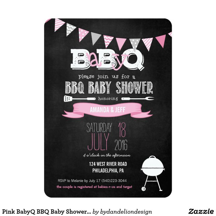 free printable camo baby shower invitations templates%0A Pink BabyQ BBQ Baby Shower Invitation