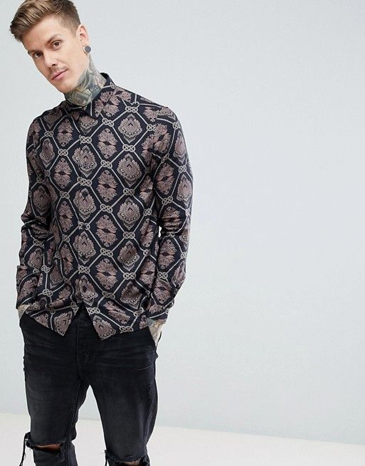 22732d4f DESIGN regular fit viscose baroque print shirt | asos men | Printed ...