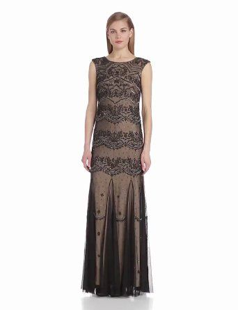 Adrianna Papell Women's Cap Sleeve Long Beaded Dress