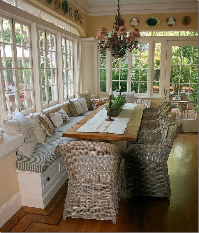 bench seating porch eating area