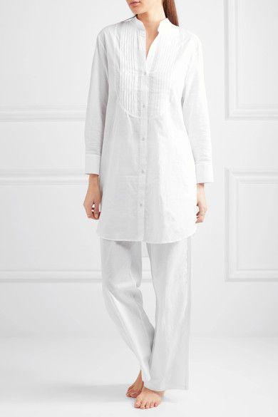 Elle Macpherson Body - Pintucked Cotton-poplin Pajama Shirt - White - x large