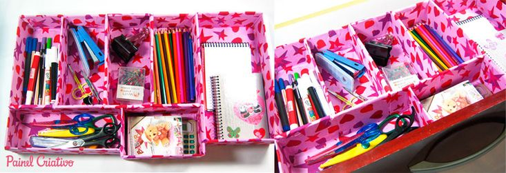 Como fazer organizador gaveta escritorio atelie reciclado - Organizador escritorio ...