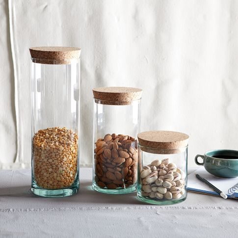 recycled-glass with cork lid.  Great storage solution for the pantry; eliminate box packaging.: Recycled Glasses, Corks Lids, Food Storage, Glasses Jars, Glasses Canisters, West Elm, Kitchens Storage, Storage Container, Food Container