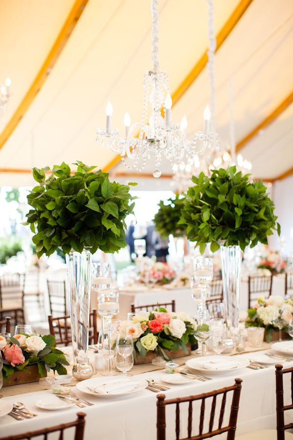 Topiary Centerpieces with Greenery | photography by http://www.melissarobotti.com/blog/