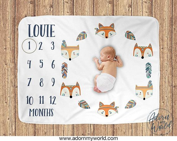 1caf65943 PERFECT BABY SHOWER GIFT! Fox Milestone Blanket