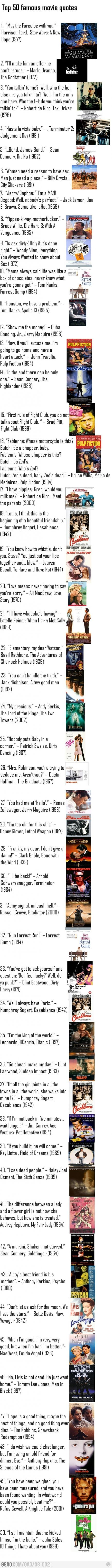 Top 50 Movie Quotes. I don't agree with all of them but they do have a lot of them