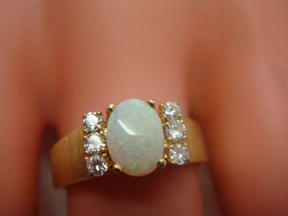 1960s Vintage 14K Matte Finish Ring with Oval Opal and Side Diamonds - *another gorgeous opal!!*