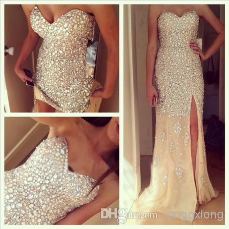 Wholesale Evening Dresses - Buy 2014 Popular Sparkle Heavy Beaded Split Front Sexy Prom Dresses Formal Crystal Evening Gowns, $148.91 | DHgate
