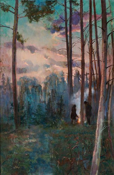 """Art by Henryk Szczygliński [Polish, 1861-1944]: """"Myśliwi przy ognisku"""" [Hunters by a Fireplace]"""