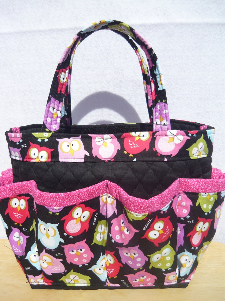 Owls print small bingo bag  /  great for craft and make-up organizer