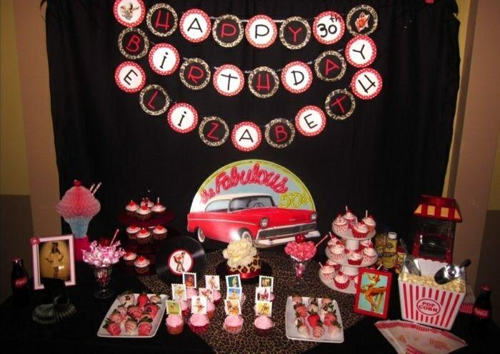 Herzlichen Glückwunsch zum Geburtstag in retro Stil   50er Jahre Party