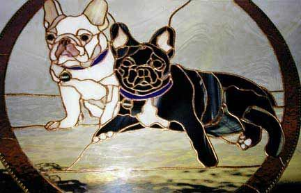 Bulldog Stained Glass Door Panels