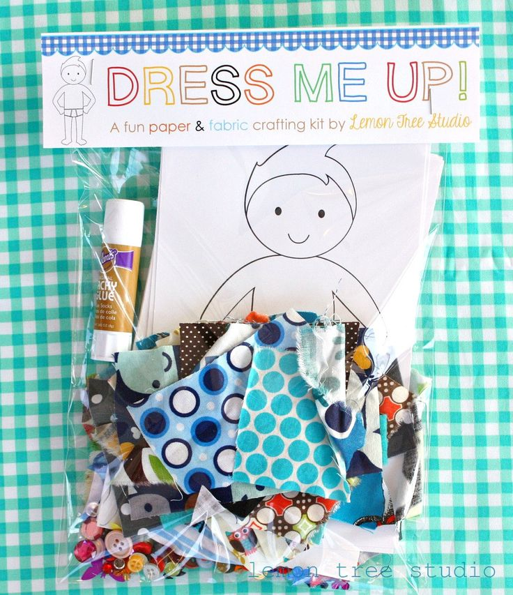 Dress me Up   -- a Fun Paper & Fabric Doll Craft Kit for Children -- Boy Theme