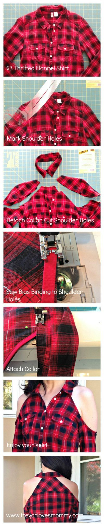 Cold Shoulder Flannel Shirt Refashion - step by step tutorial infographic - make your own shirt, sport shirt, cheap shirts *ad
