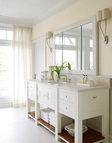 Here's the vanity Noelle found.  I like the glass knobs, open shelves on bottom with wood slats, interesting front with clean lines.  I also like the accessories.: White Bathroom Vanities, Bathroom Remodel, White Bathrooms, Bathroom Ideas, Bathroom Vanity, House, Bath Ideas, Dream Bathroom, Master Bathroom