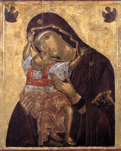 The Virgin Cardiotissa (1400-1450) - by Angelos Akotantos. Tempera and leaf on panel, 121 x 96,5 cm. Byzantine and Christian Museum, Athens....