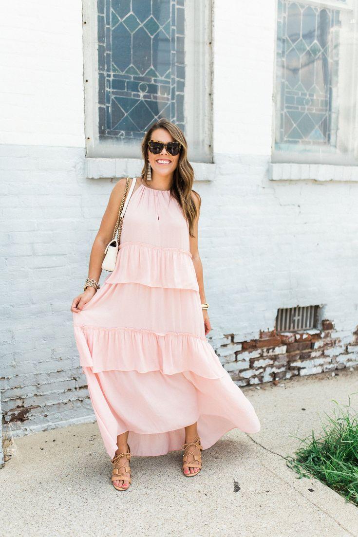 What to wear to a summer wedding / LOFT Pink Maxi Dress / Summer Style via Glitter & Gingham