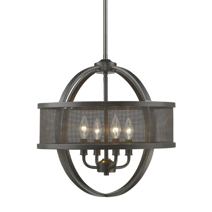 Golden Lighting Colson 3167-4P Chandelier with Shade - 3167-4P EB-EB