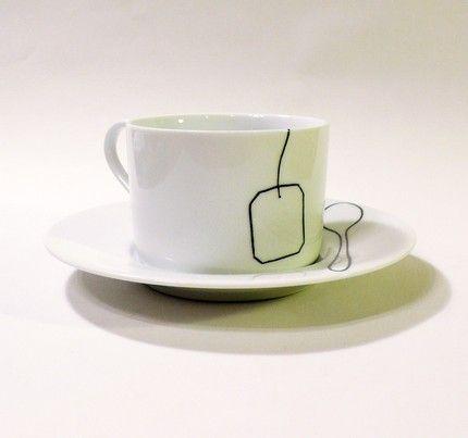Etsy :: baileydoesntbark :: Tea Bag and Tea Spoon Cup and Saucer