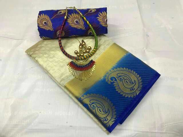 Cotton Silk saree with running blouse and extra jeckard blouse piece free gift jewelry set