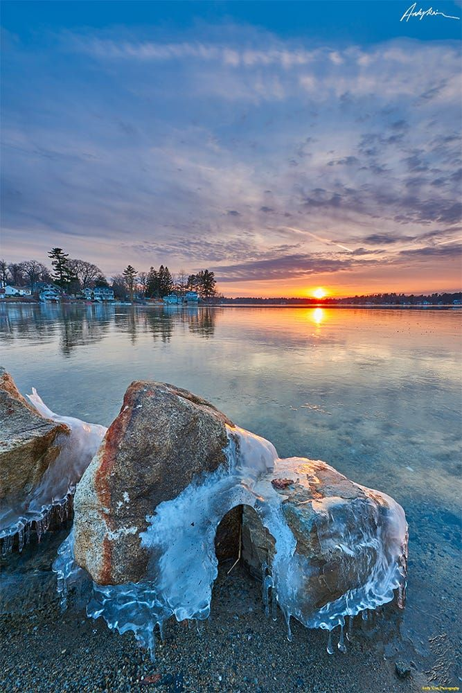 Mascuppic Lake by Andy Kim....... #sunrise #lake #sunset #rock #snow #ice #Massachusetts #MascuppicLake