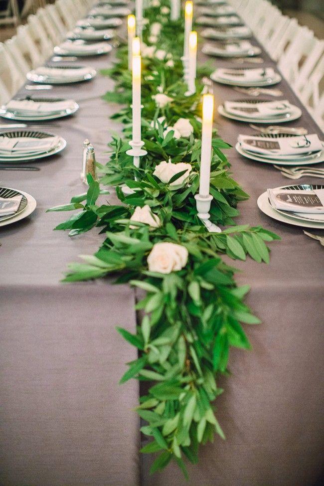 Grey white green wedding tables with bay leaf garland, white candlesticks and San Francisco City Hall // thestylesafari.com