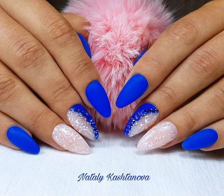 57 Blue Matte Nail Designs 2018