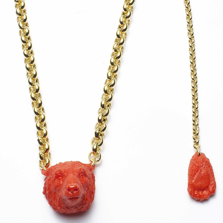 LENAKLAX RED CORAL POLAR BEAR NECKLACE http://lenaklax.bigcartel.com/product/red-coral-polar-bear-necklace