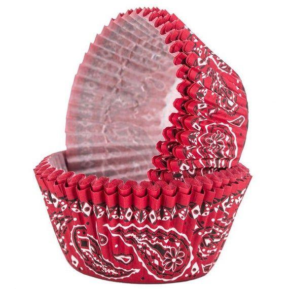 Red Bandana Baking Cupcake Cups 24 Pack Western Cupcake