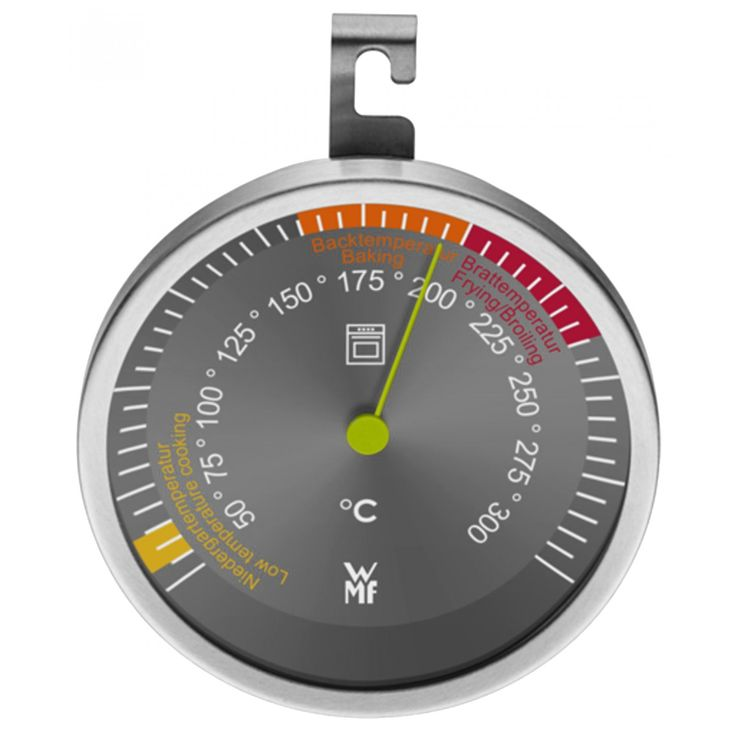 Termómetro para horno WMF de la línea Scala elaborado en acero inoxidable con cristal resistente hasta 250ºC de temperatura; con gancho para colgar.