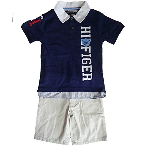 thilfiger Niños Outfit Polo camisa camiseta de + Beige corto para pantalones con logo Bandera 116 #camiseta #friki #moda #regalo