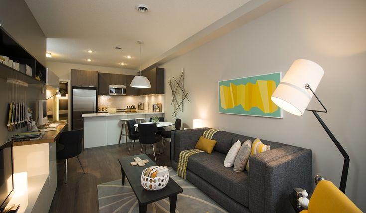 www.home-designing.com   Cuisine ouverte sur bureau et petit salon, décoration élégante et dynamisée par de savantes touches de moutarde!