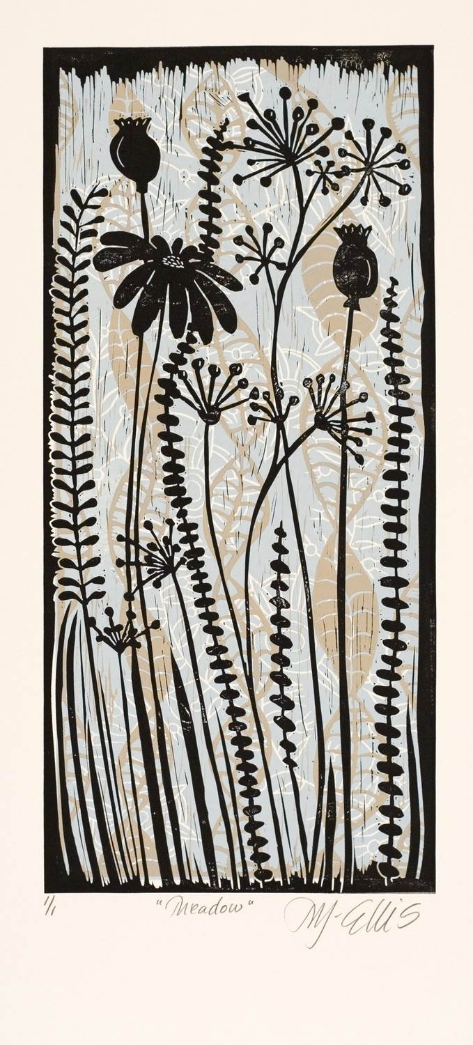 Meadow, a color linocut by Mariann Johansen Ellis, Artcanbefun; I love the subtle layering of color