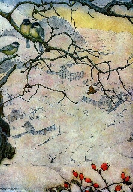 Anton Pieck - cozy winterscape and birds and winter berries