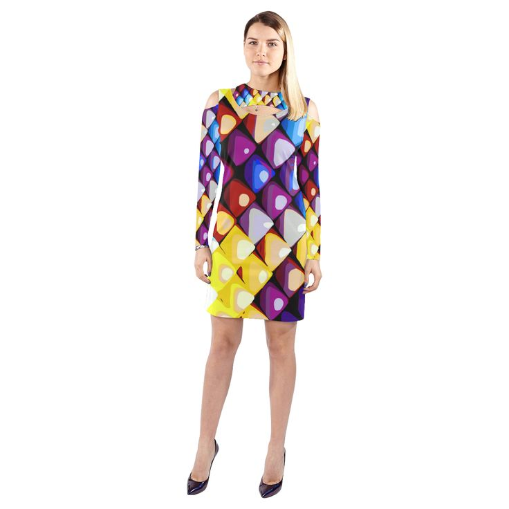 Abstract Colors Red Blue Yellow Purple Cold Shoulder Long Sleeve Dress (Model D37)