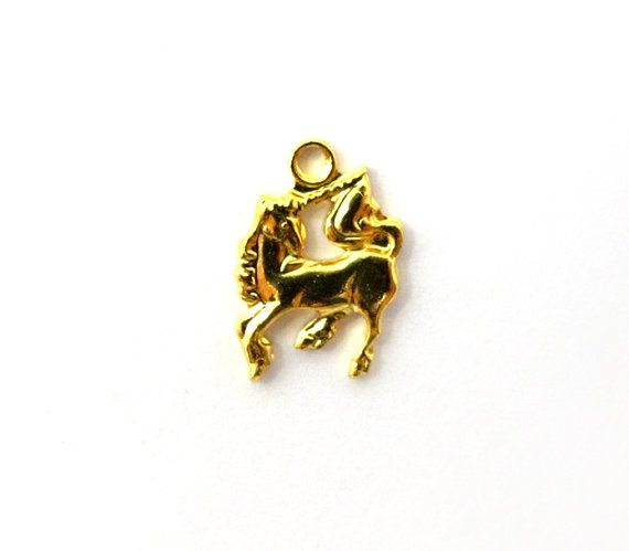 [THE LAST UNICORN]  Tiny Vintage Gold Plated Unicorn Charms 18X V211 by EpochBeads