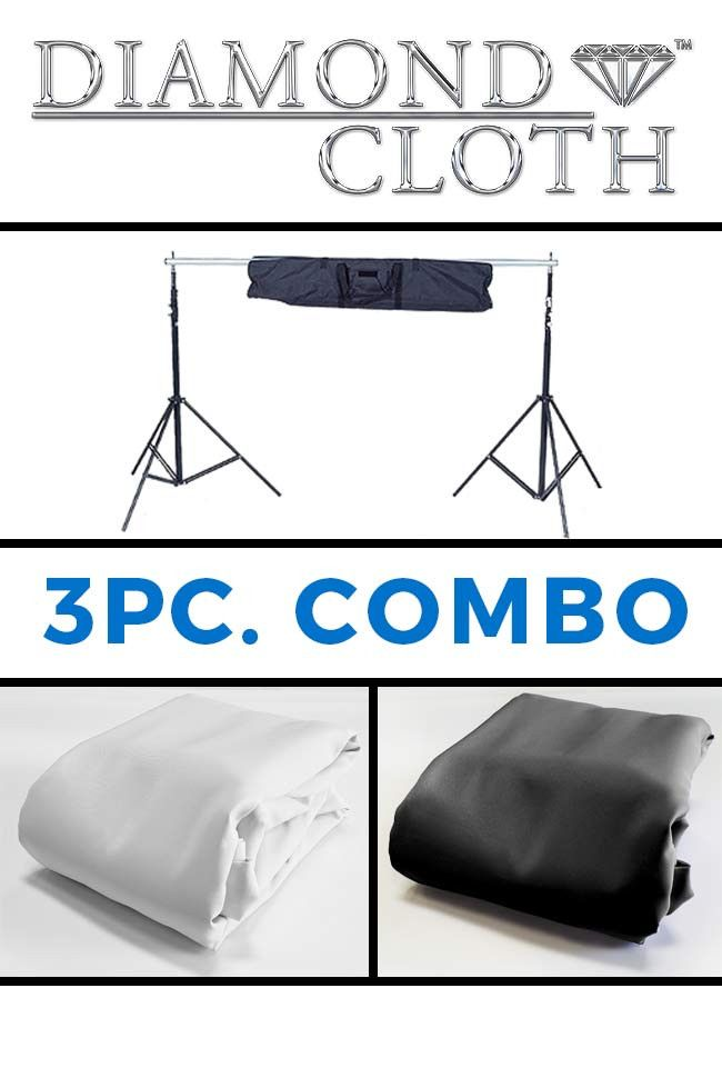 COM137 Combo 10x10 White & Black Diamond Cloth Backdrops With Background Stand