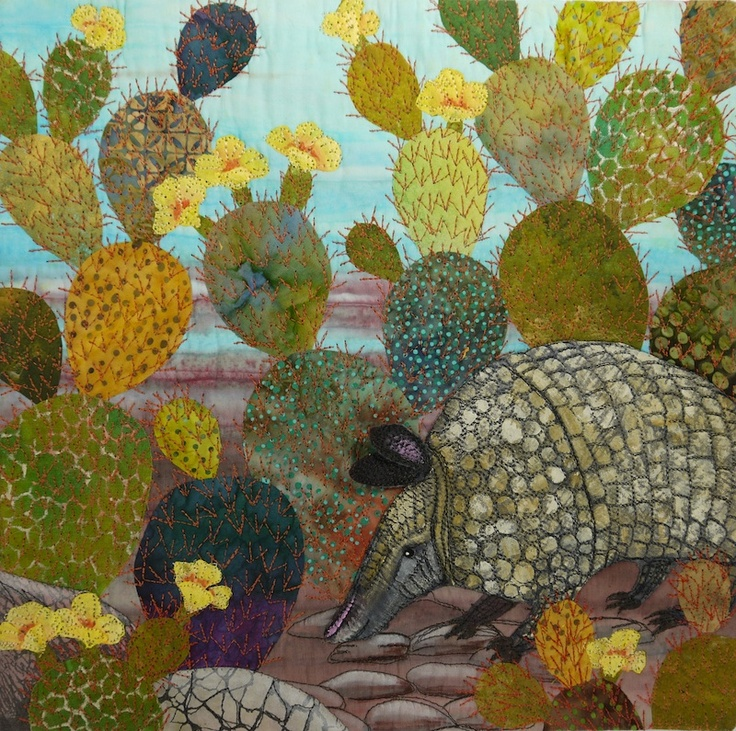 quilt art   I am always enamored with Betty Busby's work and I especially love the armadillo and the use of fabric alone to delineate the cactus.