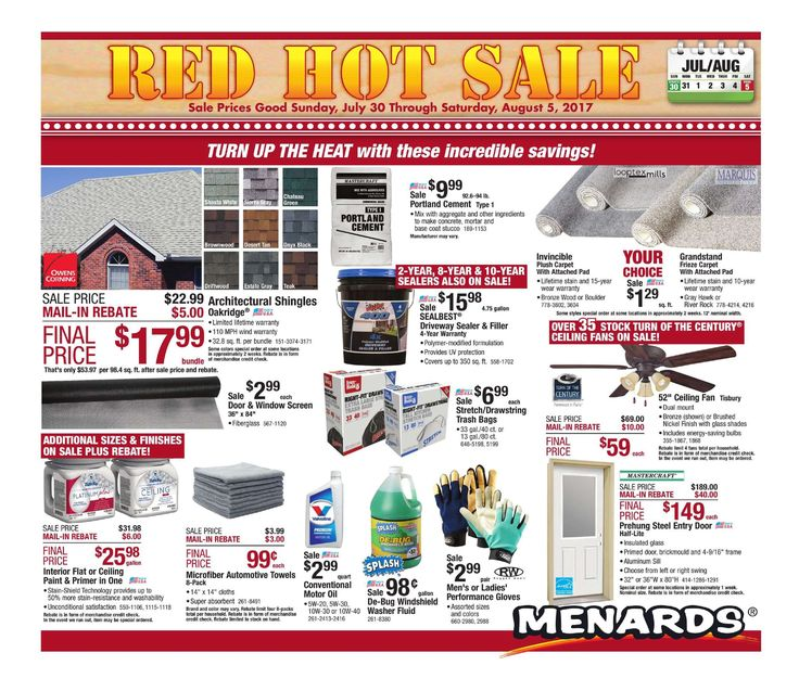 Menards Weekly Ad July 30 - August 5, 2017 - http://www.olcatalog.com/home-garden/menards-weekly-ad.html