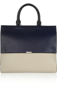 This handbag is pricey, but completely posh. Victoria Beckham Two-tone leather tote | NET-A-PORTER