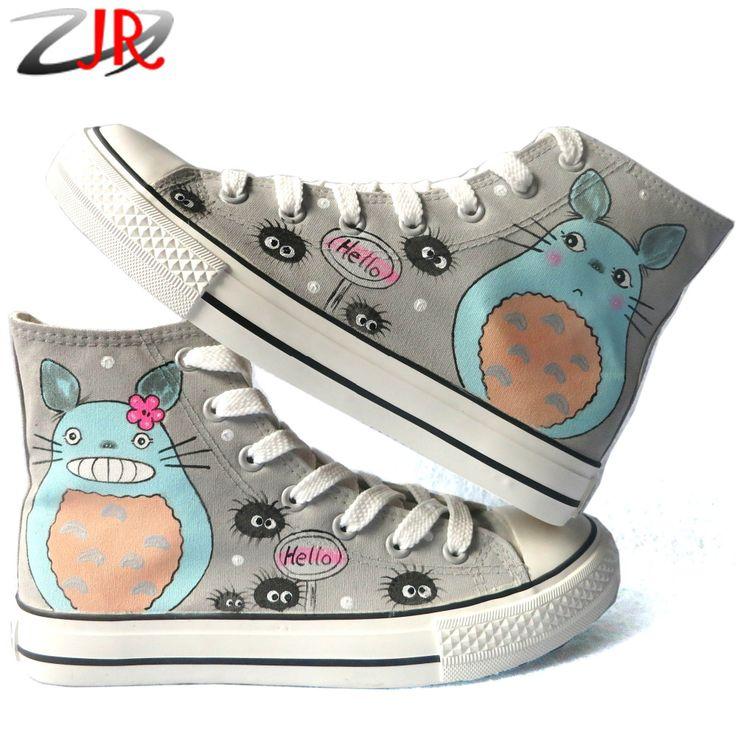 Купить товарТоторо дети ручная роспись холст обувь высокого верха студенты свободного покроя обувь мальчики девочки граффити на заказ аниме обувь в категории Спортивная обувьна AliExpress.      Despicable Me Minions Style Girls Canvas Shoes for Kids Children Sneakers Bo