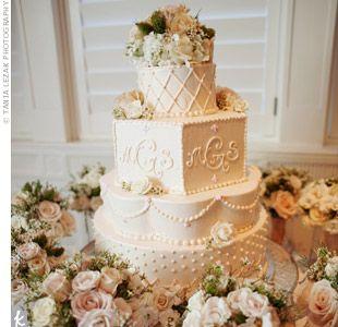 Cake: Cakes Ideas, Difference Shape Wedding Cakes, Tiered Cakes, Ivory Wedding Cakes, Cakes Design, Wedding Planners, Monograms, Art Cakes, Cakes Shape