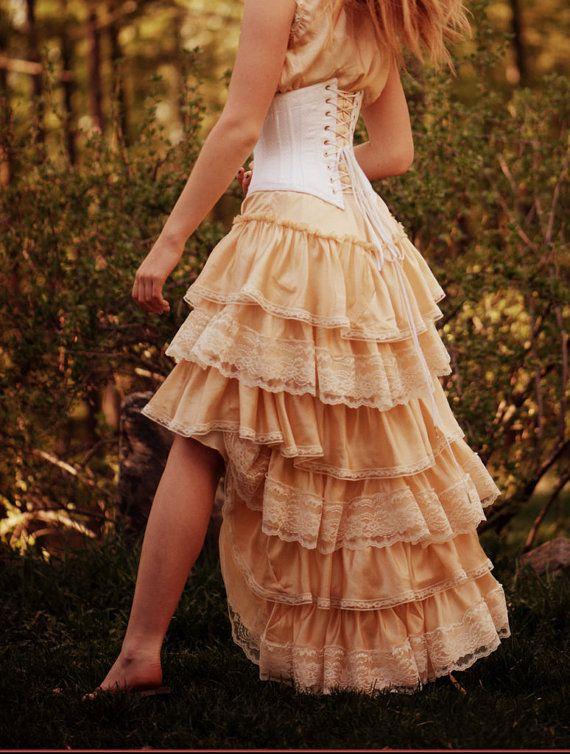 Antieke geïnspireerd Bohemian bruiloft jurk zijde door LaBelleFairy